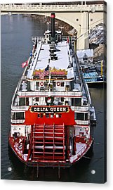 Delta Queen In Christmas Snow Acrylic Print by Tom and Pat Cory