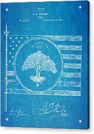 Deming Century Flag Patent Art 1875 Blueprint Acrylic Print by Ian Monk
