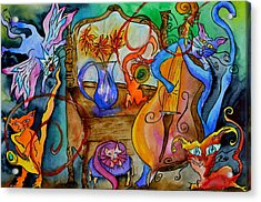 Demon Cats Acrylic Print by Beverley Harper Tinsley