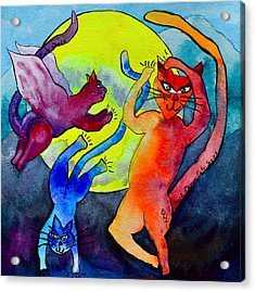 Demon Cats Dance By The Light Of The Moon Acrylic Print