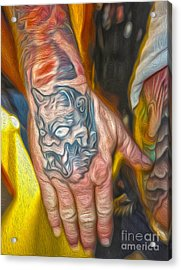 Demon Tattoo Acrylic Print by Gregory Dyer