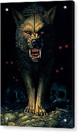 Demon Wolf Acrylic Print by MGL Studio - Chris Hiett