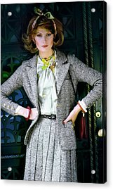 Denise Hopkins Wearing An Adolfo Suit Acrylic Print