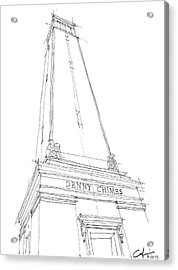 Acrylic Print featuring the drawing Denny Chimes Sketch by Calvin Durham