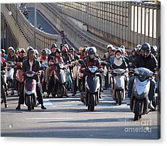 Dense Scooter Traffic In Taiwan Acrylic Print