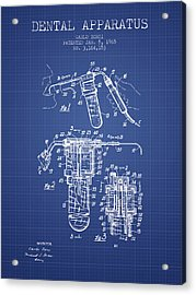 Dental Apparatus Patent Drawing From 1965 - Blueprint Acrylic Print by Aged Pixel