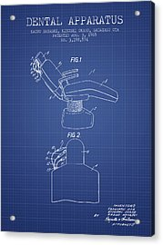 Dental Apparatus Patent From 1965 - Blueprint Acrylic Print by Aged Pixel