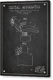 Dental Apparatus Patent From 1965 - Dark Acrylic Print by Aged Pixel