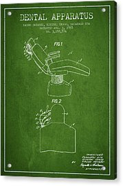 Dental Apparatus Patent From 1965 - Green Acrylic Print by Aged Pixel