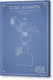 Dental Apparatus Patent From 1965 - Light Blue Acrylic Print by Aged Pixel
