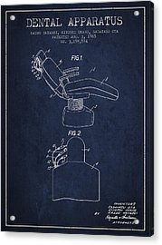 Dental Apparatus Patent From 1965 - Navy Blue Acrylic Print by Aged Pixel