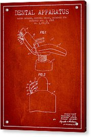 Dental Apparatus Patent From 1965 - Red Acrylic Print by Aged Pixel