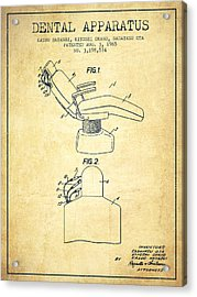 Dental Apparatus Patent From 1965 - Vintage Acrylic Print by Aged Pixel