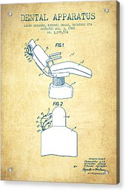 Dental Apparatus Patent From 1965 - Vintage Paper Acrylic Print by Aged Pixel