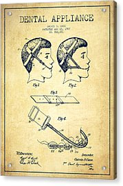 Dental Appliance Patent From 1907 - Vintage Acrylic Print by Aged Pixel