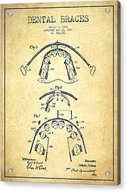 Dental Braces Patent From 1907 - Vintage Acrylic Print by Aged Pixel