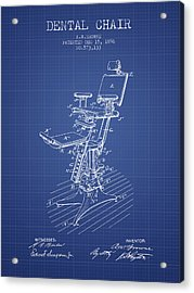 Dental Chair Patent Drawing From 1896 - Blueprint Acrylic Print by Aged Pixel