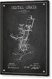 Dental Chair Patent Drawing From 1896 - Dark Acrylic Print by Aged Pixel