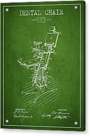 Dental Chair Patent Drawing From 1896 - Green Acrylic Print by Aged Pixel