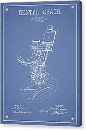 Dental Chair Patent Drawing From 1896 - Light Blue Acrylic Print by Aged Pixel