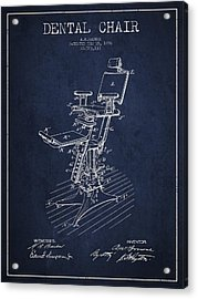 Dental Chair Patent Drawing From 1896 - Navy Blue Acrylic Print by Aged Pixel