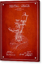 Dental Chair Patent Drawing From 1896 - Red Acrylic Print by Aged Pixel