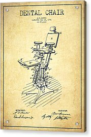 Dental Chair Patent Drawing From 1896 - Vintage Acrylic Print by Aged Pixel