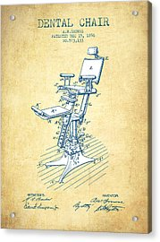 Dental Chair Patent Drawing From 1896 - Vintage Paper Acrylic Print