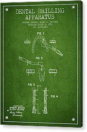 Dental Drilling Apparatus Patent From 1963 - Green Acrylic Print