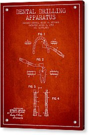 Dental Drilling Apparatus Patent From 1963 - Red Acrylic Print