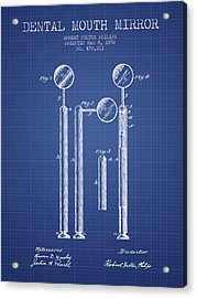 Dental Mouth Mirror Patent From 1892  - Blueprint Acrylic Print by Aged Pixel