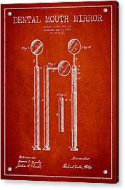 Dental Mouth Mirror Patent From 1892 - Red Acrylic Print