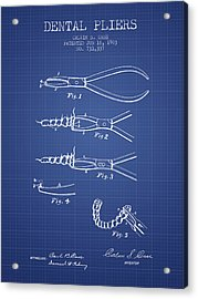 Dental Pliers Patent From 1903 - Blueprint Acrylic Print by Aged Pixel