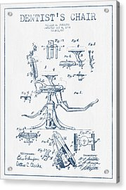 Dentist Chair Patent Drawing From 1892 - Blue Ink Acrylic Print by Aged Pixel