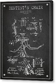 Dentist Chair Patent Drawing From 1892 - Dark Acrylic Print by Aged Pixel