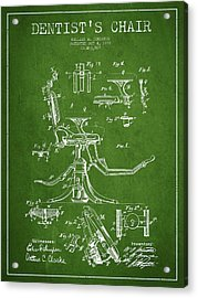 Dentist Chair Patent Drawing From 1892 - Green Acrylic Print by Aged Pixel