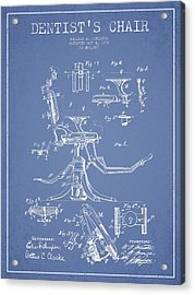 Dentist Chair Patent Drawing From 1892 - Light Blue Acrylic Print by Aged Pixel