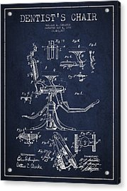 Dentist Chair Patent Drawing From 1892 - Navy Blue Acrylic Print by Aged Pixel