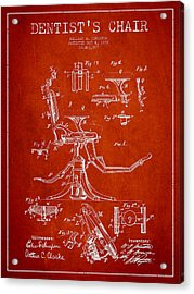 Dentist Chair Patent Drawing From 1892 - Red Acrylic Print by Aged Pixel