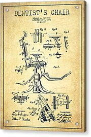 Dentist Chair Patent Drawing From 1892 - Vintage Acrylic Print