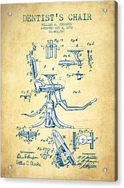 Dentist Chair Patent Drawing From 1892 - Vintage Paper Acrylic Print by Aged Pixel
