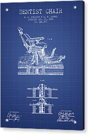 Dentist Chair Patent From 1886 -  Blueprint Acrylic Print by Aged Pixel