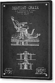 Dentist Chair Patent From 1886 - Dark Acrylic Print by Aged Pixel