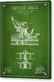 Dentist Chair Patent From 1886 - Green Acrylic Print by Aged Pixel
