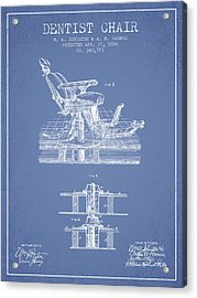 Dentist Chair Patent From 1886 - Light Blue Acrylic Print by Aged Pixel
