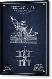 Dentist Chair Patent From 1886 - Navy Blue Acrylic Print by Aged Pixel