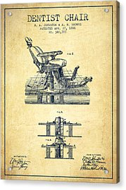 Dentist Chair Patent From 1886 - Vintage Acrylic Print by Aged Pixel