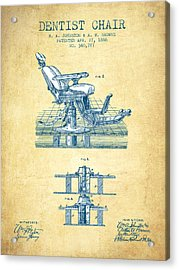 Dentist Chair Patent From 1886 - Vintage Paper Acrylic Print by Aged Pixel