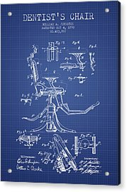 Dentist Chair Patent From 1892 - Blueprint Acrylic Print by Aged Pixel