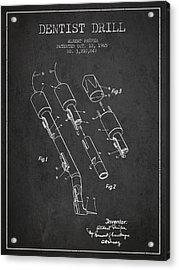 Dentist Drill Patent From 1965 - Dark Acrylic Print